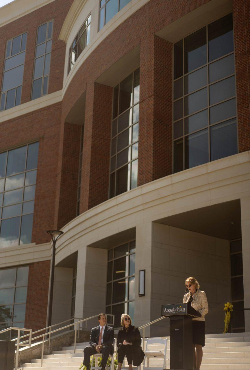 Chancellor Sheri Everts addresses the audience at the ribbon-cutting ceremony of the new Leon Levine building of Health Sciences. The building is the first complete project of the Connect NC Bond.