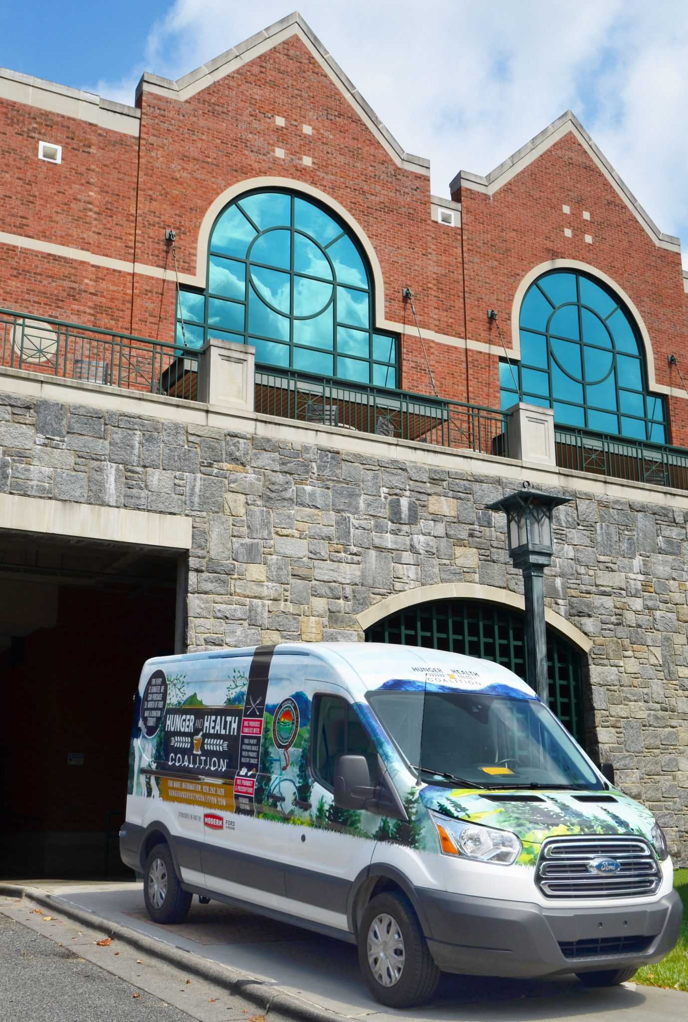 The Hunger and Health Coalition's bus parked outside of Roess Dining Hall.
