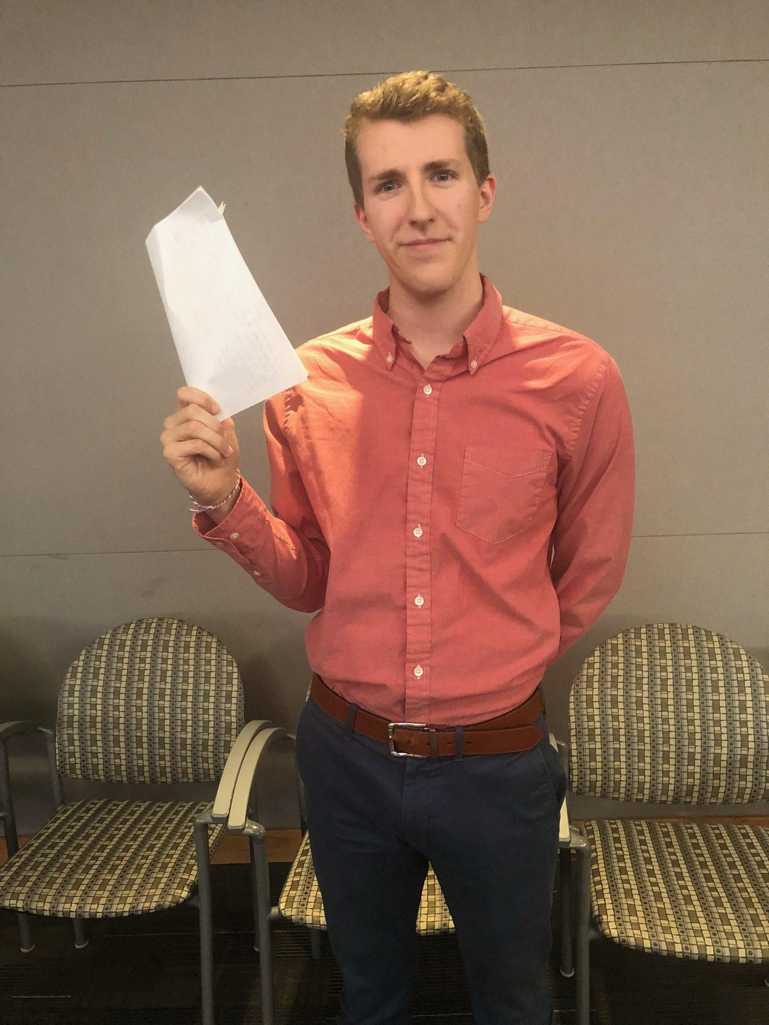 Andrew+Strahan%2C+senior%2C+after+the+SGA+meeting+on+Oct.+2.+HIs+Smiley+Card+bill+was+successfully+passed+by+the+Senate.+