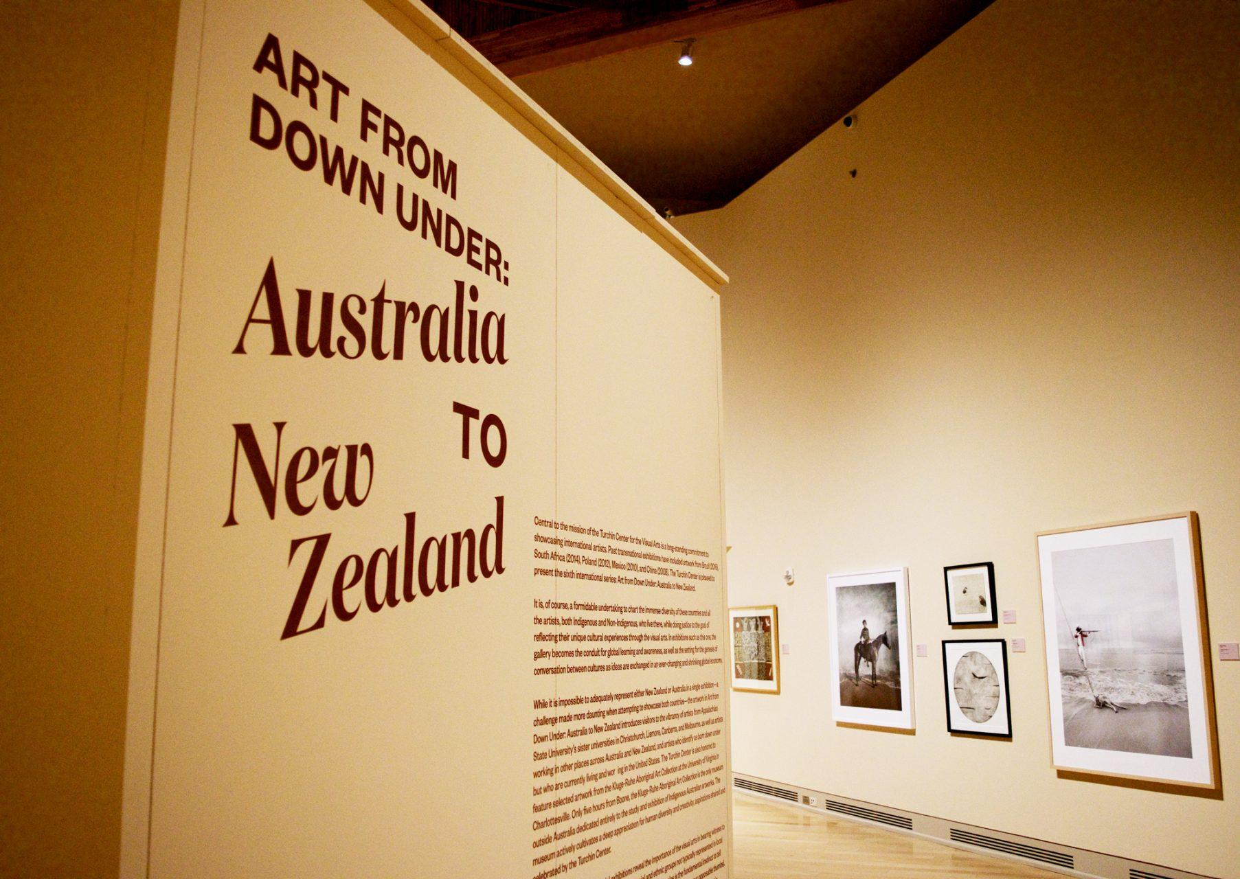 The introductory panel to the Art From Down Under: Australia to New Zealand in the Turchin Center for Visual Arts.