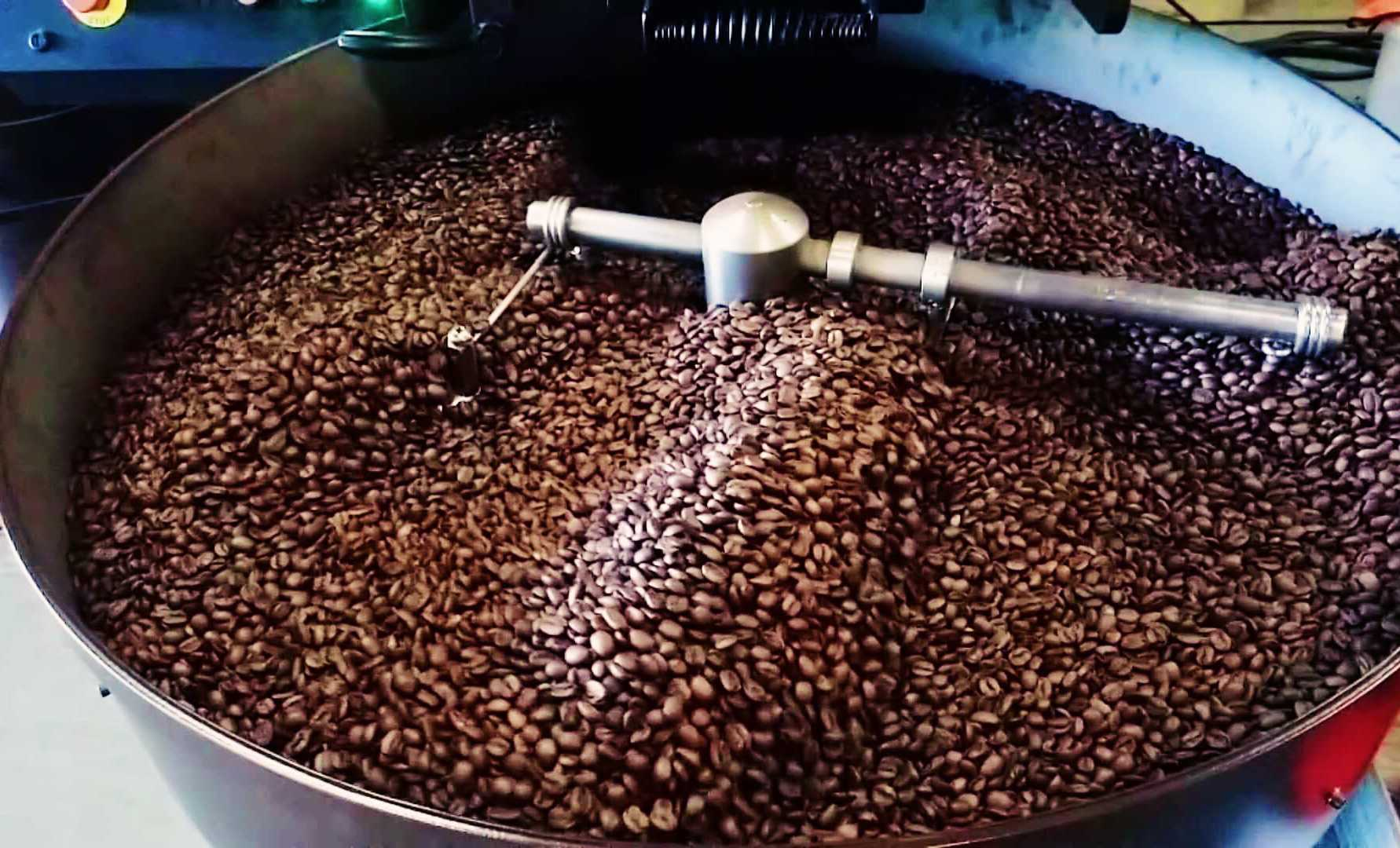 Coffee+beans+roasting+at+the+Bald+Guy+Brew+warehouse.+