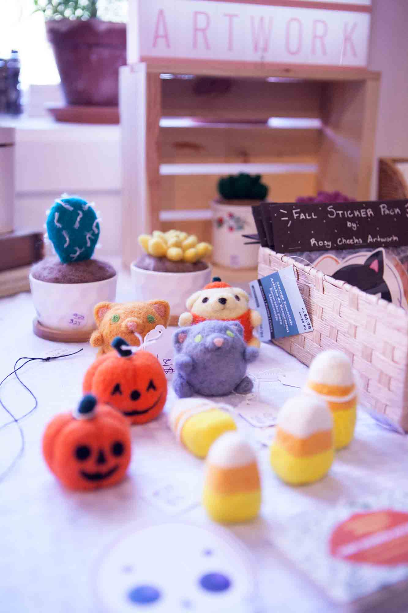 Halloween-themed felt pieces by Rosy Cheeks Artwork displayed for sale at this weekend's Boone Pop Up.