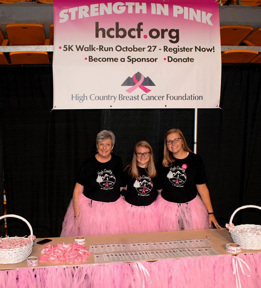 Terri Brown (left), Allyson Medlin (center) and Kate Fersinger (right) pose at the annual Strength in Pink run hosted by the High Country Breast Cancer Foundation last year.