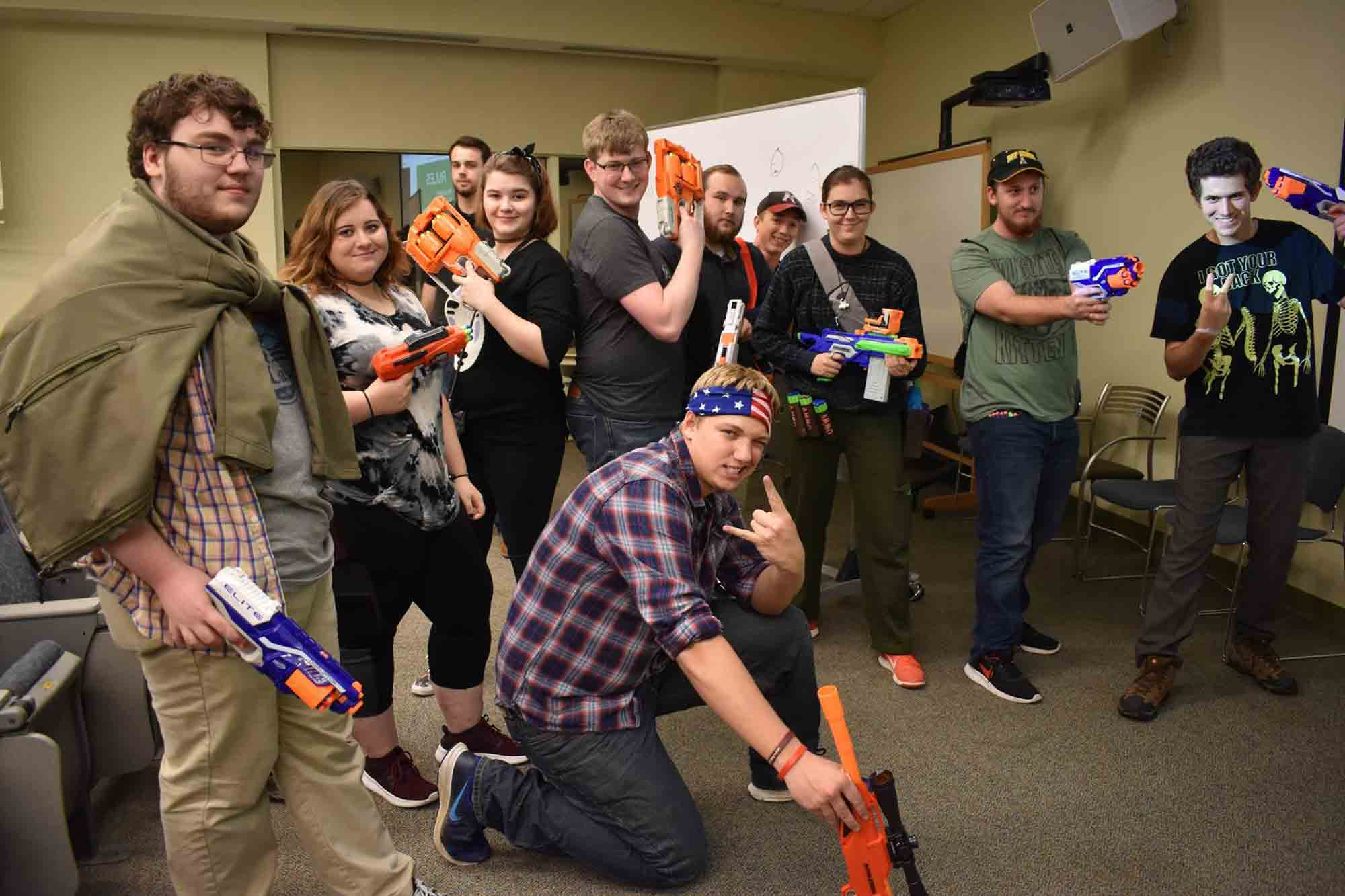 Paricipants gear up as they prepare for the Humans vs. Zombies battle in the Belk Library and Information Commons.