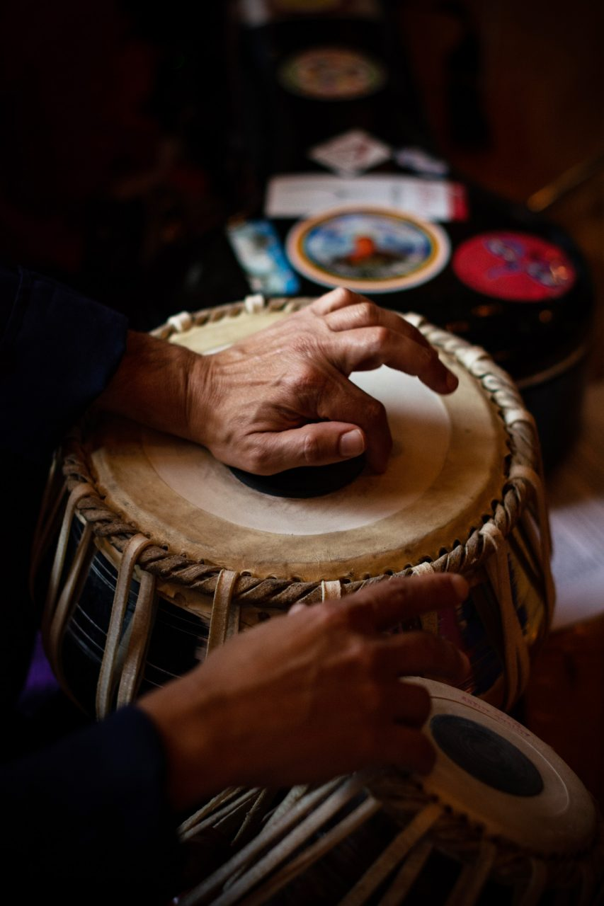 Percussion professor Rob Falvo and has been playing the tablo drum for 17 years.