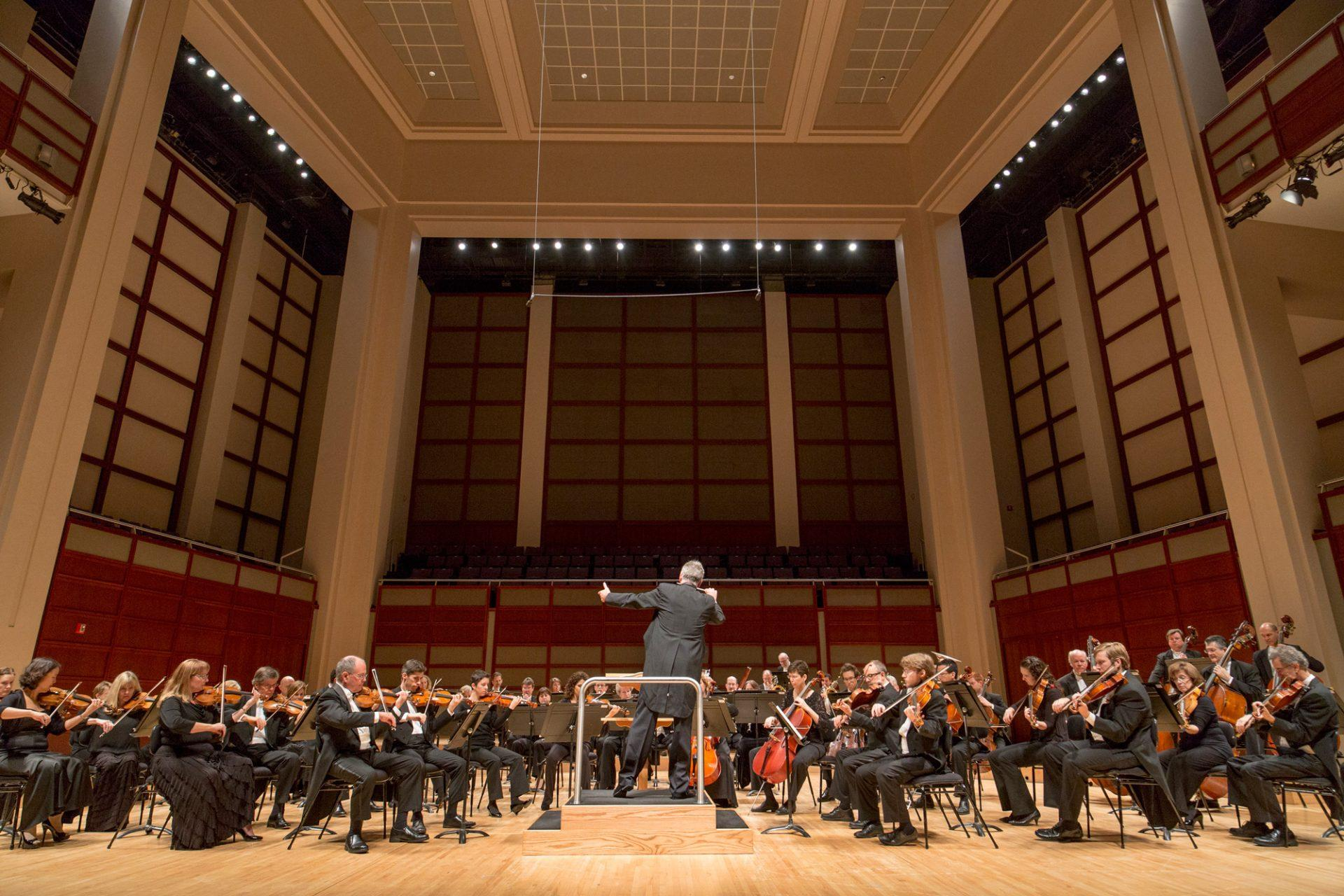 The members of the North Carolina Symphony performing. The NC Symphony visited App State on Oct. 19 in the Schaefer Center.