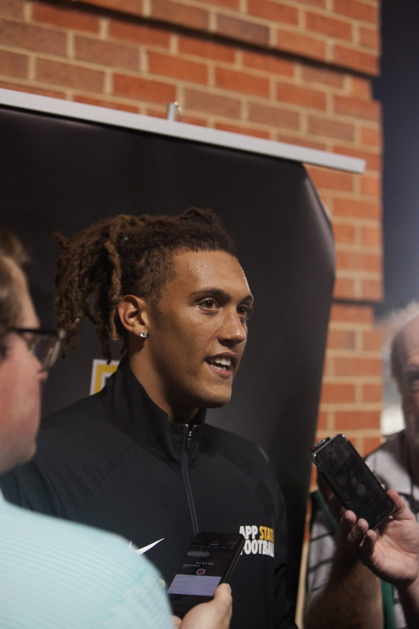 Redshirt sophomore receiver Corey Sutton answers media questions after the Charlotte game.