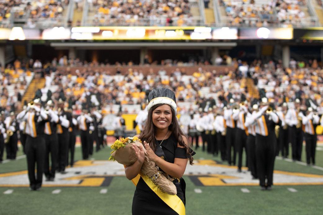 Rachel Gallardo, 2018's Top of the Rock Recipient. Gallardo was honored at Saturday's homecoming football game.