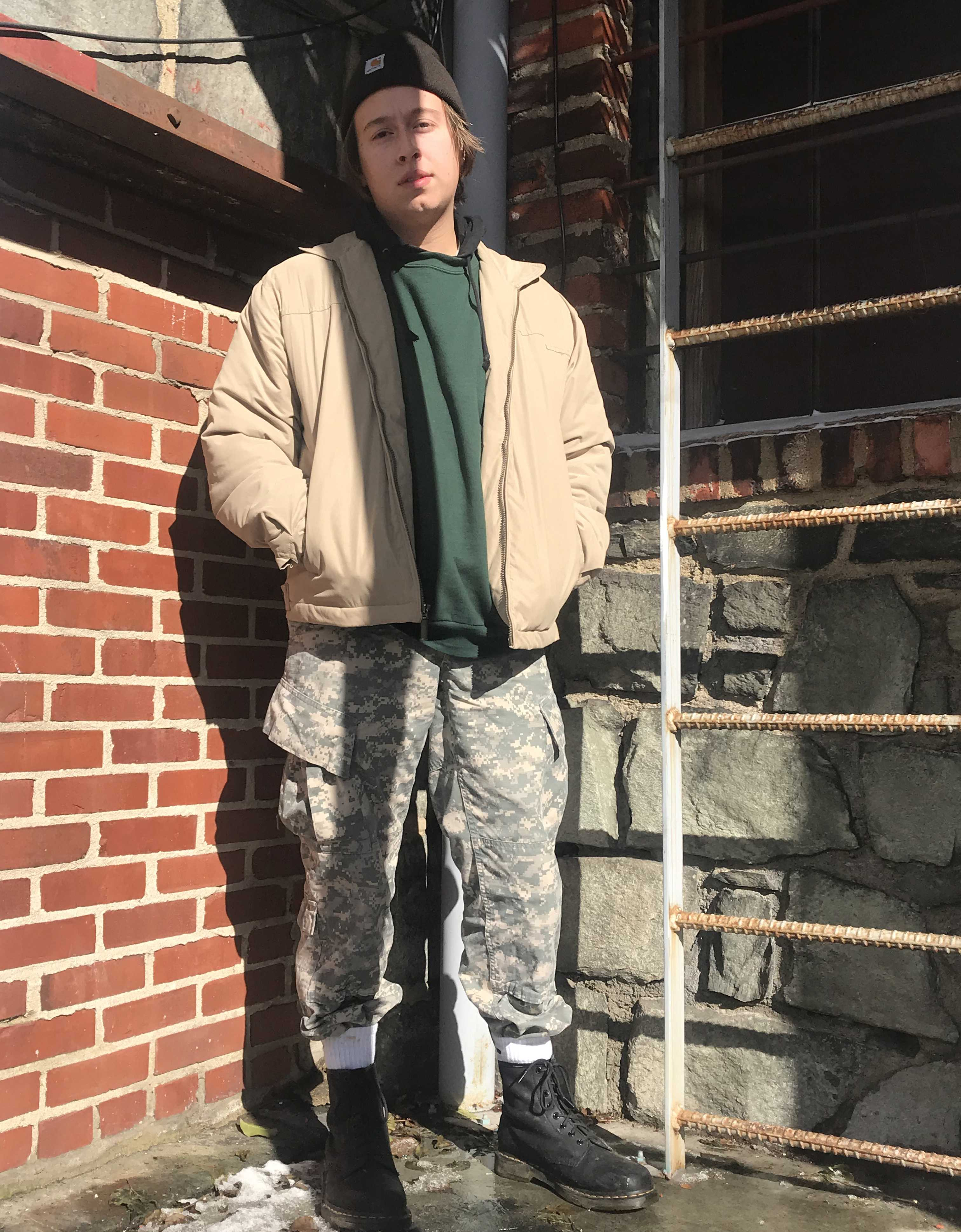 Karl Boynton, a junior music industry studies major stays comfortable while still sporting a scumbro fit representing skate culture and it's evolution.