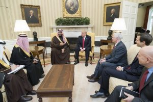 President Donald Trump meets with Mohammed bin Salman, Deputy Crown Prince of Saudi Arabia, and members of his delegation, March 17, 2017, in the Oval Office of the White House in Washington D.C. // Official White House Photo by Shealah Craighead