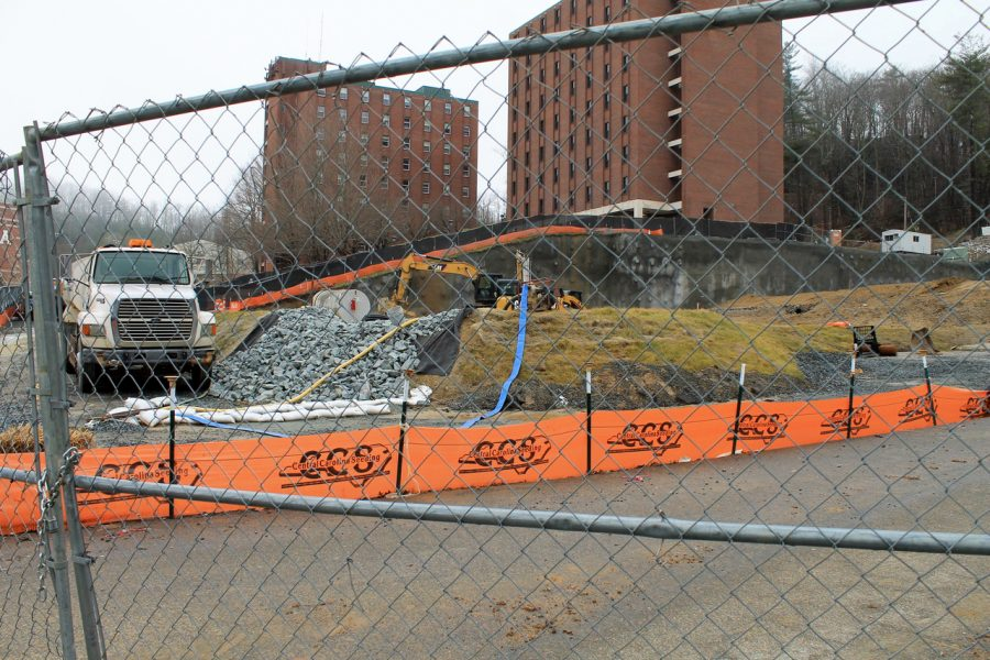 A construction site on the west side of campus next to Eggers Residence Hall. Buildings on the west side of campus are a part of App State's P3 project to demolish