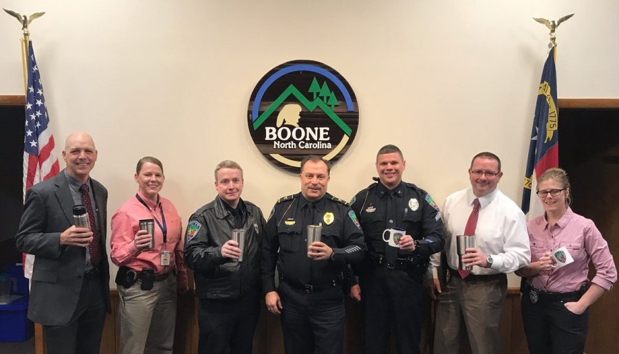 Members+of+the+Boone+Police+Department+pose+with+coffee+cups.+Boone+Police+will+host+%22Coffee+with+a+Cop%22+to+get+to+know+the+community+better.+