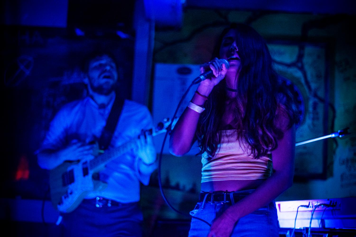 Foxy Moron's lead singer, Elora Dash, takes center-stage during Saturday's show at TApp Room while guitarist Lucas Triba shreds alongside her. The band's next show is on February 9 at Ransom.