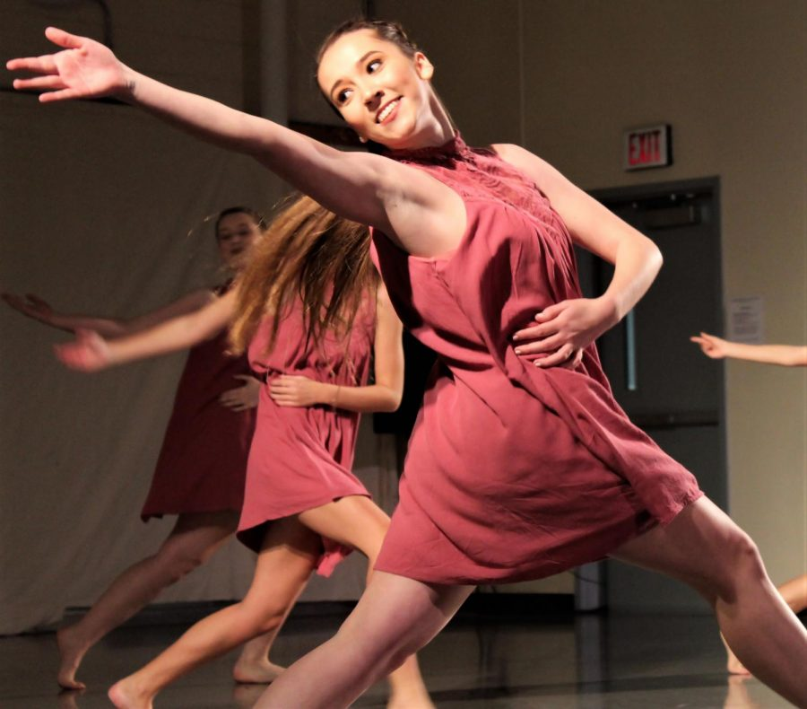 Freshman%2C+Kennedy+Bennett+showcases+her+natural+beauty+through+her+movement+in+the+piece+%E2%80%98Beautiful%E2%80%99+choreographed+by+Rachel+Bohannon.+%0D%0A