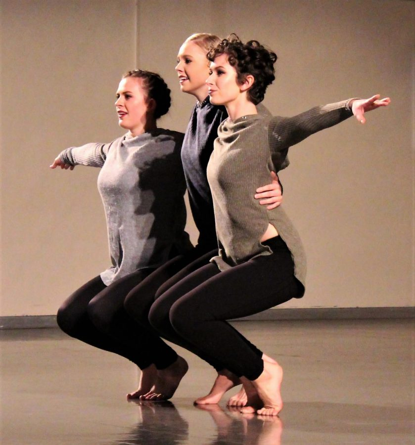 Dancers Lori Potter (left), Abi Wiggins (middle) and Maren Schmidt (right) show each other support in their piece 'Choosing Self(lessness)' choreographed by Darby Adams.