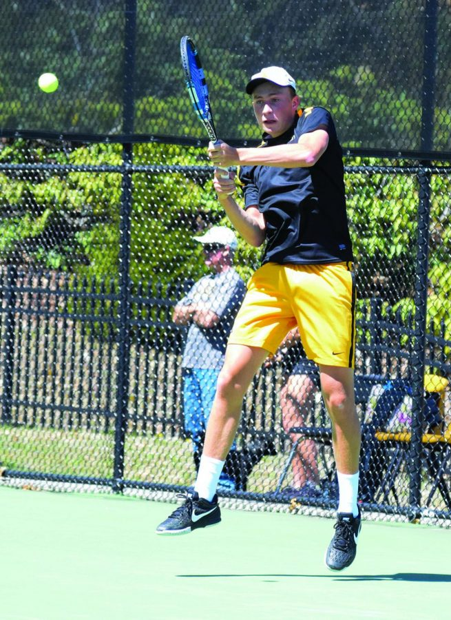 Junior+Milo+Bargeron+serving+against+Georgia+Southern%27s+Diego+Finkelstein+during+the+2017+season.+Photo+by+Lindsay+Vaughn.+