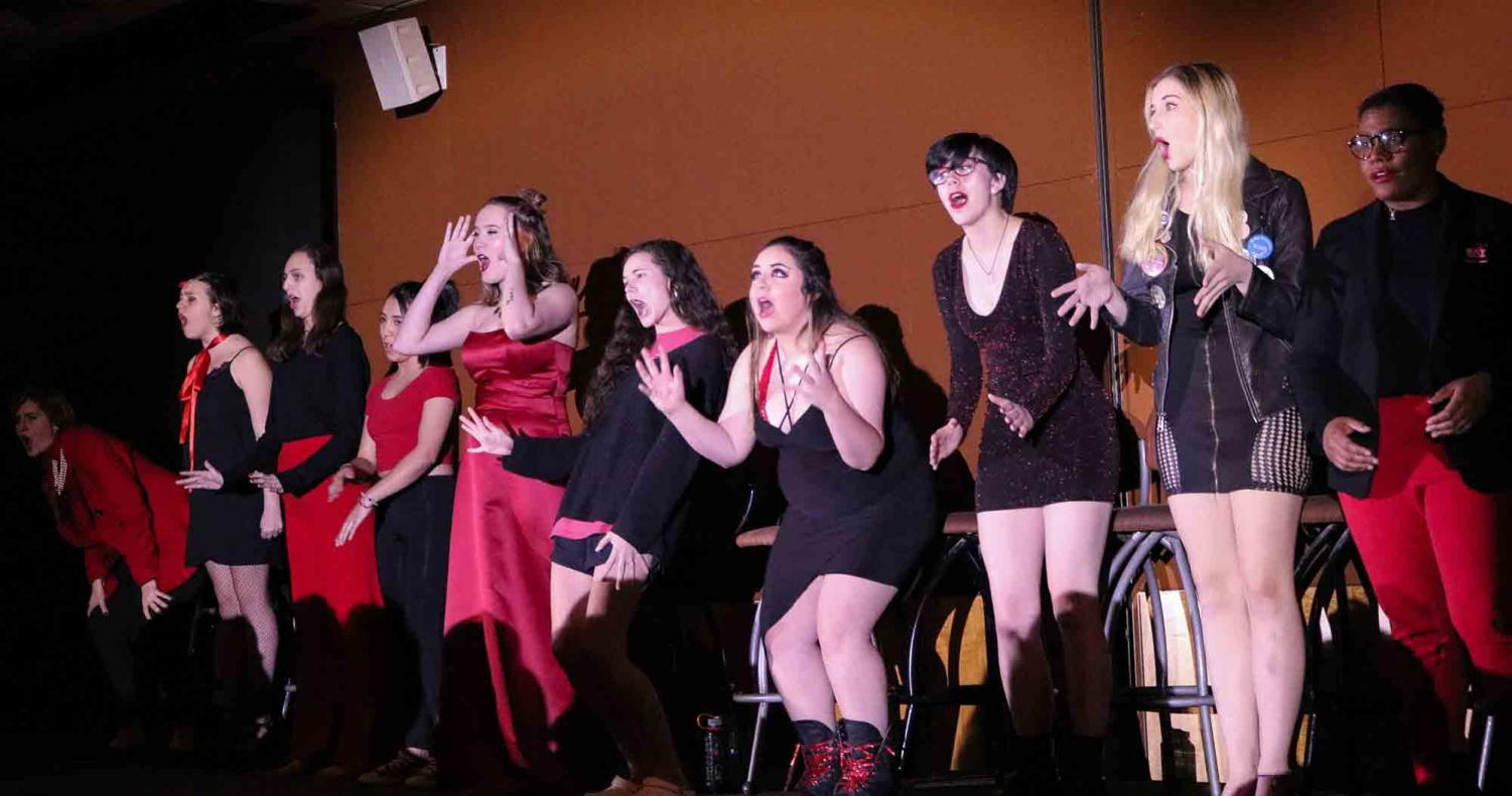 This year's Vagina Monoogues performers line up on stage. The monologues are the Women's Center's largest event, created to shine a light on issues that women around the world face, and to raise money for local charities, such as Oasis.