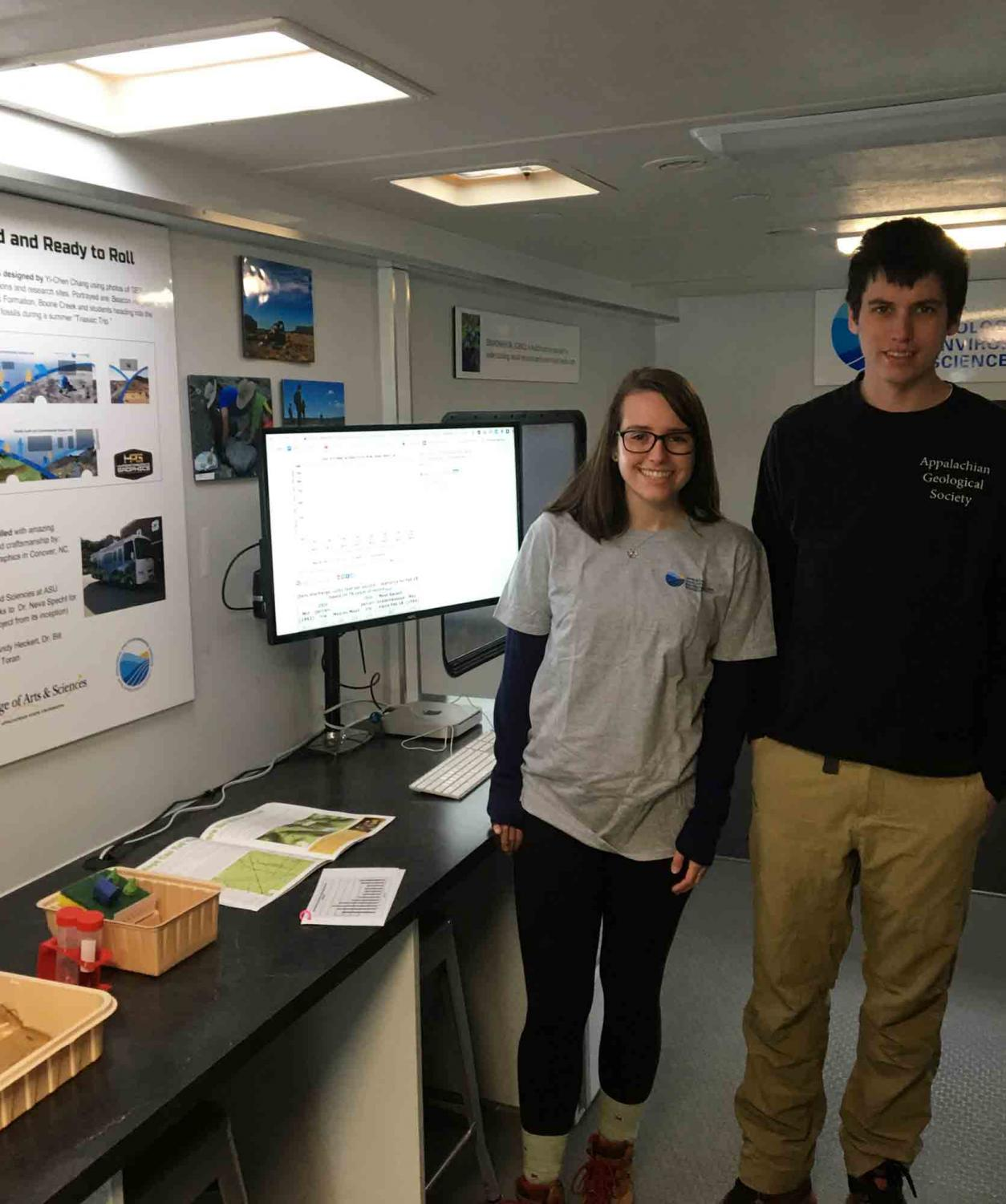 """Senior quantitative geology majors Carly Maas (left) and Brandon Yokeley are both interns for the Department of Geological and Environmental Sciences' """"Water on the Move"""" program. The program is aimed to educate teachers and students of neighboring Watauga County schools about local water issues, data and research."""