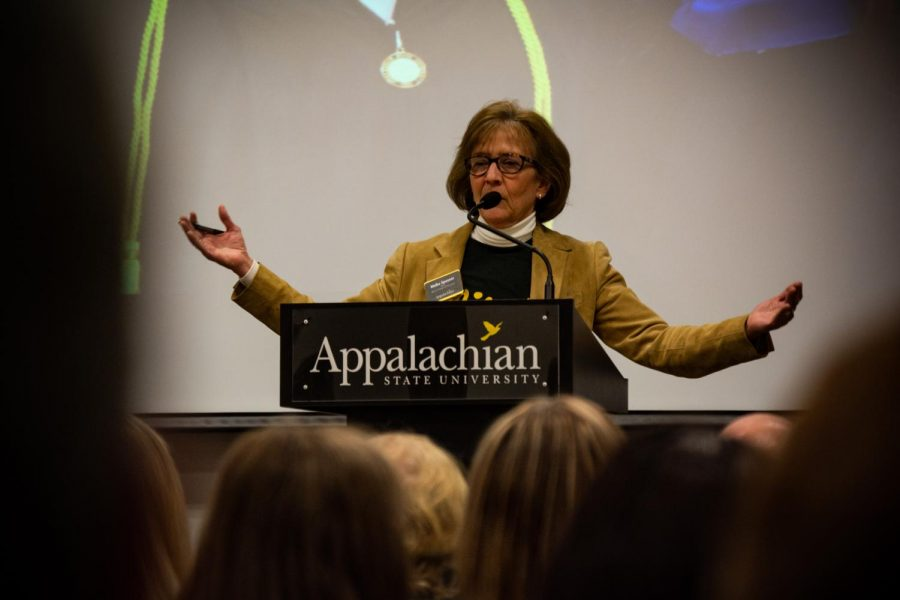 Dr. Melba Spooner speaks to attendants at Saturday's Teacher Preview Day in the Reich College of Education. Spooner is the Dean of the College of Education and spoke to prospective students about the benefits of majoring in education.