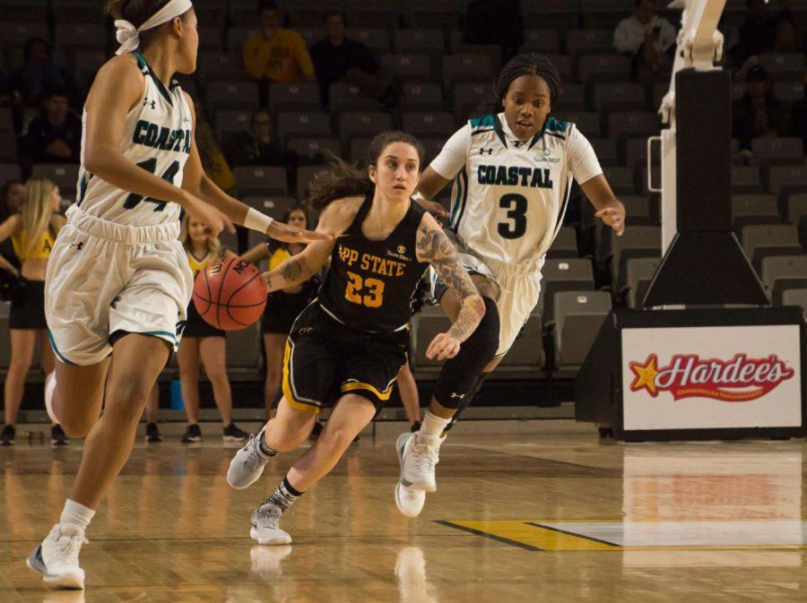 Junior guard Ashley Polacek drives down the lane to the basket against Coastal Carolina.