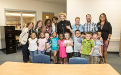 Dean of Reich College of Education Melba Spooner and App State Chancellor Sheri Everts visit Academy at Middle Fork students in 2019. Students get the chance to connect with faculty, staff, and students of many majors at App State.