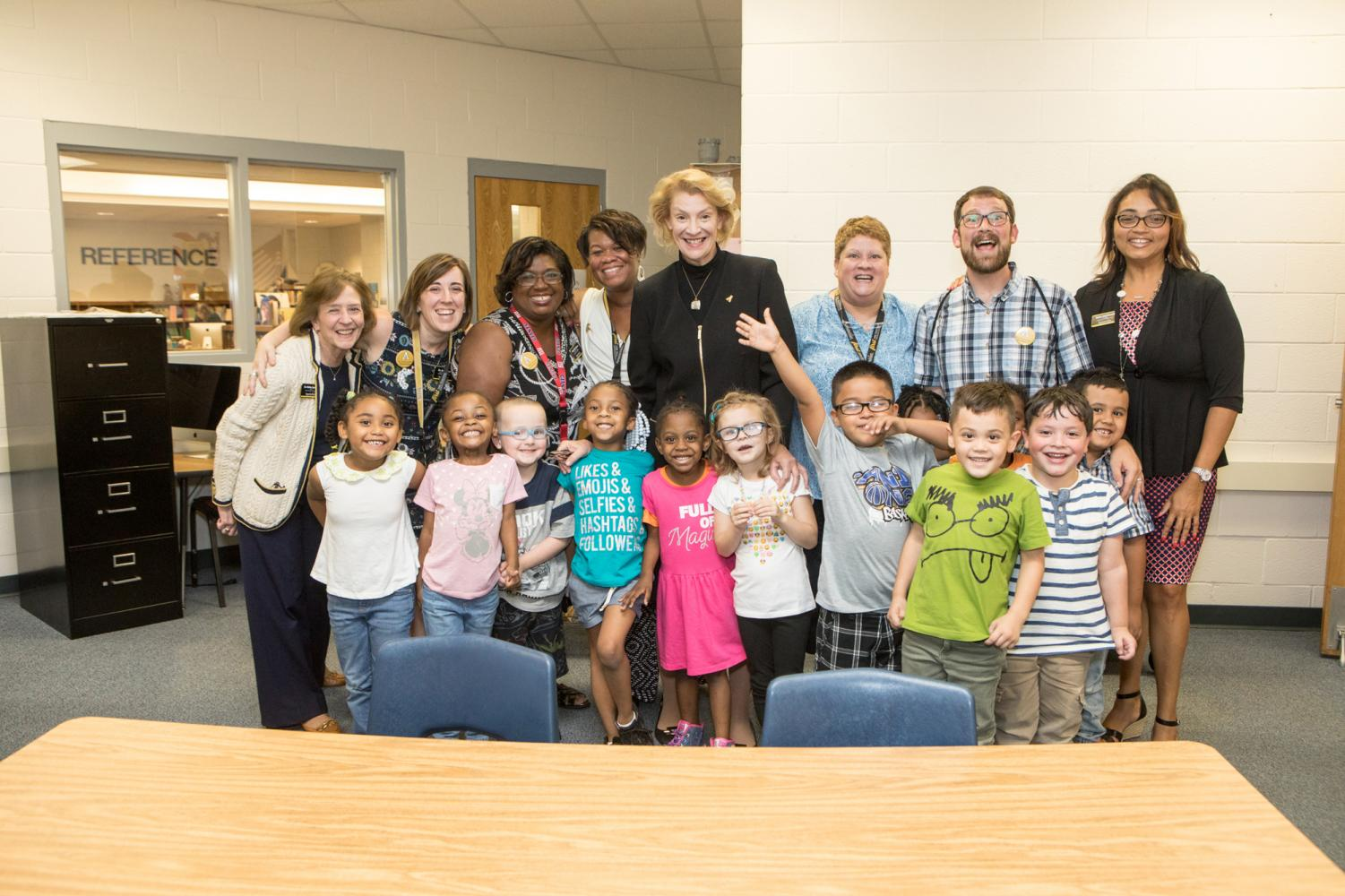 Dean of Reich College of Education Melba Spooner and App State Chancellor Sheri Everts visit Academy at Middle Fork students. Students get the chance to connect with faculty, staff, and students of many majors at App State. Photo Courtesy of Academy at Middle Fork