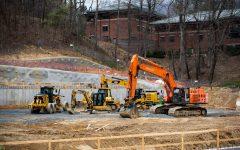 Parking deck on West Campus assembled, preparation for new residence halls begins