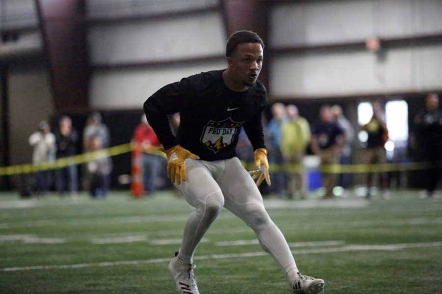 Junior cornerback Clifton Duck performs agility drills at App State Pro Day.