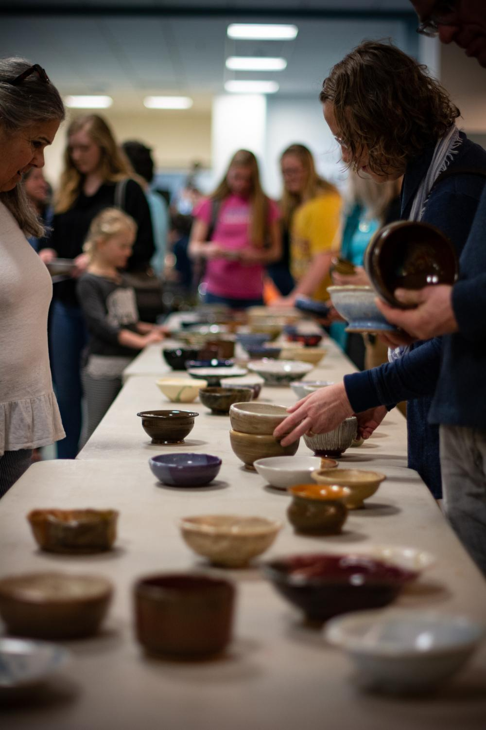 Locals shop around the Empty Bowls event at Watauga High School on Saturday. All proceeds from the event benefitted the Hunger and Health Coalition.