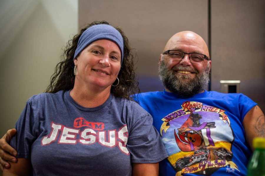 Gina and Tim Roten enjoy themselves at the church luncheon following service. Crossfire provides a meal for churchgoers every third Sunday of the month after Biker Church.