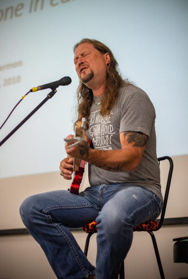 CJ Ballard served as the musical talent for Sunday's performance portion of Sunday's Biker Church. Ballard began playing at Crossfire years ago but has recently landed a recording contract, and graciously came back to play for his community.