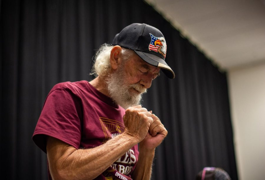 Kelly Bray finds inner peace through the songs and prayer of Biker Church at Crossfire United Methodist Church. Bray has been a regular at Crossfire for 12 years now.