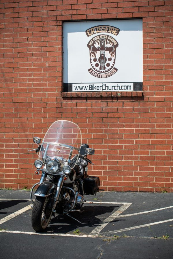 One of the many motorcycles parked outside of Crossfire United Methodist Church. Crossfire began around 2003, with the church and its community growing alongside one another.