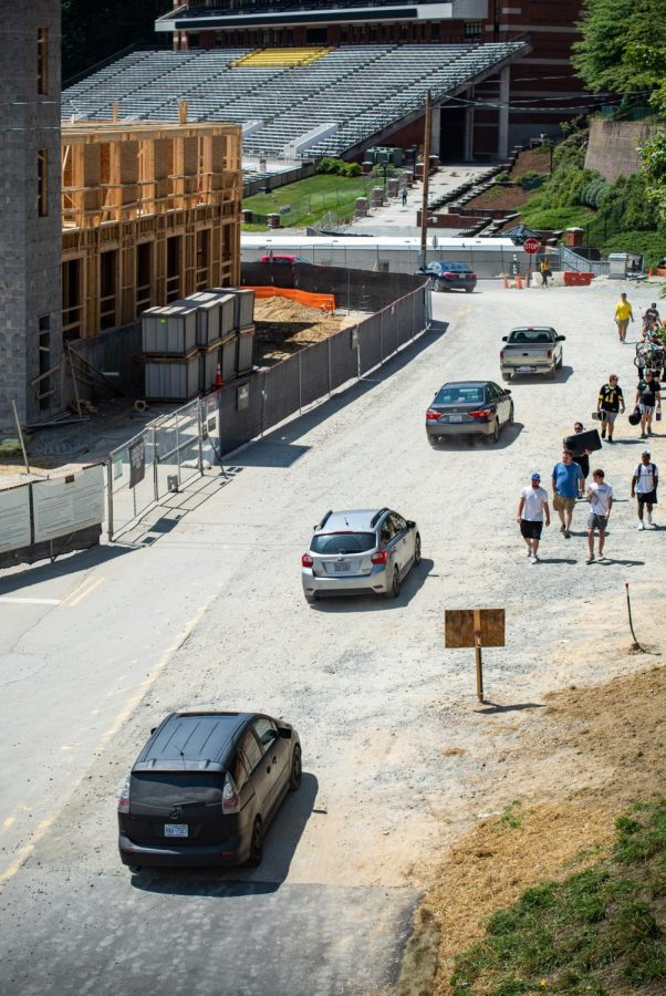 The flow of traffic on West Campus has been limited to one two-lane road as a result of the construction. App State Police Captain Johnny Brown said that not only incoming freshman are using the road but also construction trucks carrying deliveries.