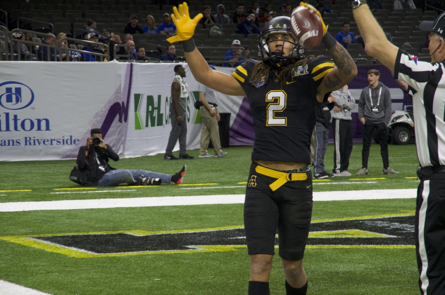 Junior wide receiver Corey Sutton celebrates after scoring a touchdown against Middle Tennessee at the New Orleans Bowl on Dec. 15.