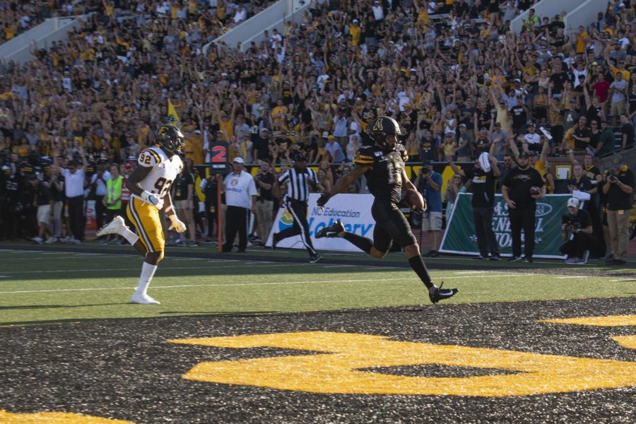Junior wide receiver Jalen Virgil scores the first rushing touchdown of his career on Aug. 31 in App States 42-7 win over East Tennessee State.