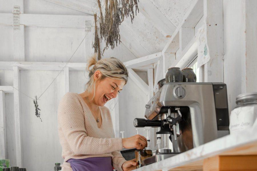 Lavender House employee, Haley Riodan makes a heartbeat latte. A heartbeat latte includes