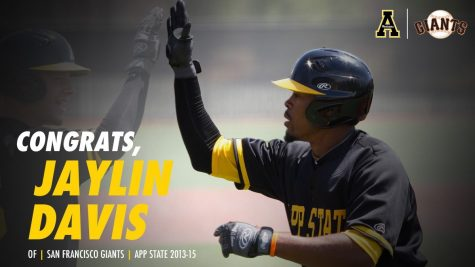 Jaylin Davis played baseball at App State from 2013-15. He was called up to the San Francisco Giants on Sept. 4. // Photo and graphic courtesy of App State Athletics