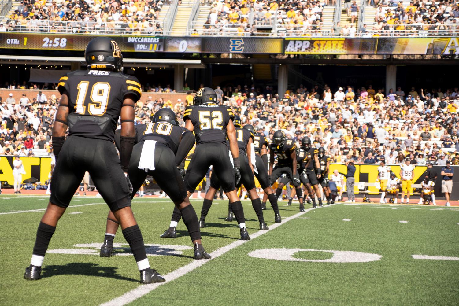 App State's special teams unit lines up for the opening kickoff of App State's 42-7 win over ETSU on Aug. 31. // Photo courtesy of App State Athletics
