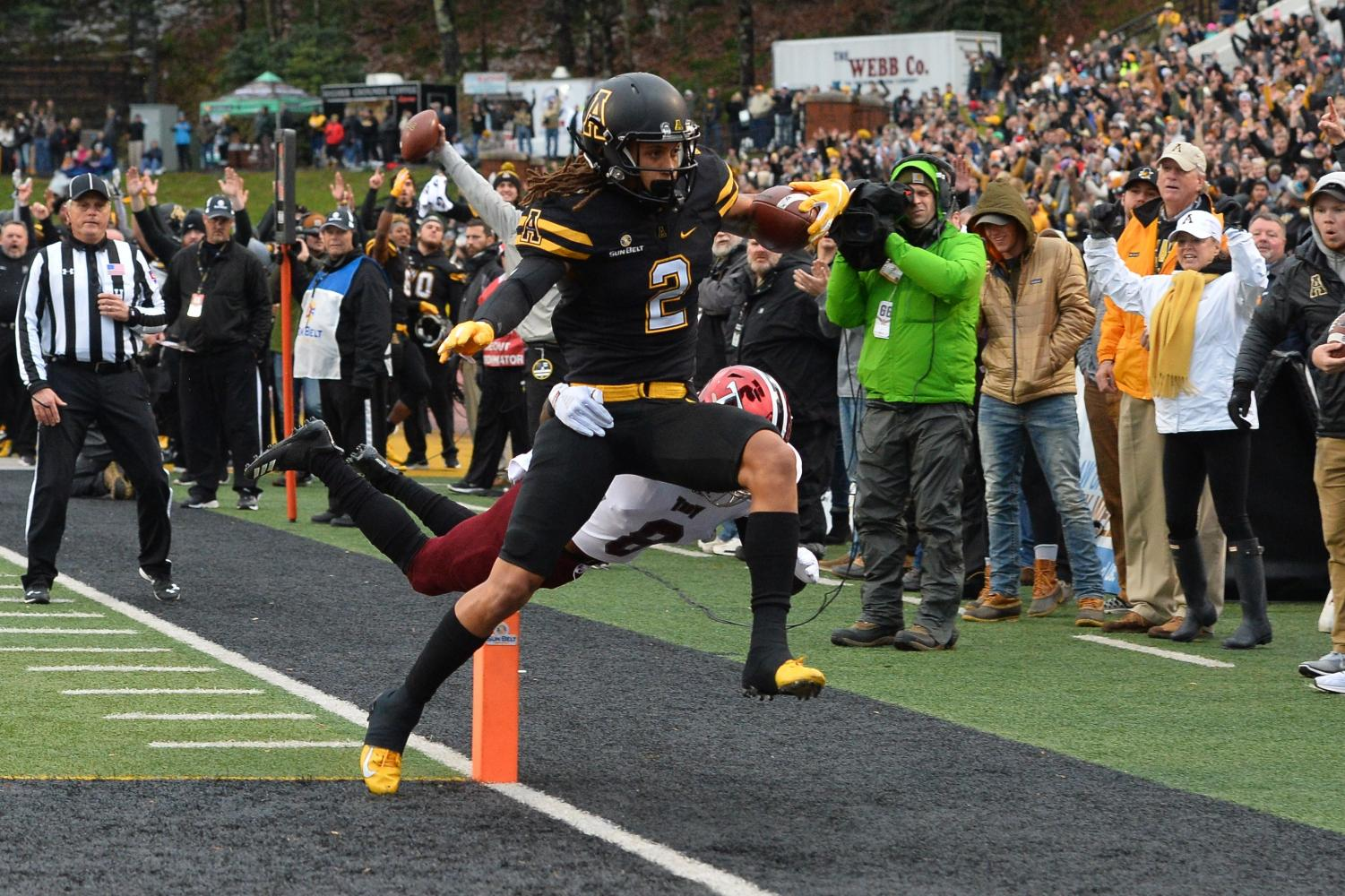 Junior wide receiver Corey Sutton scores a touchdown in App State's 21-10 win over Troy on Nov. 24, 2018.