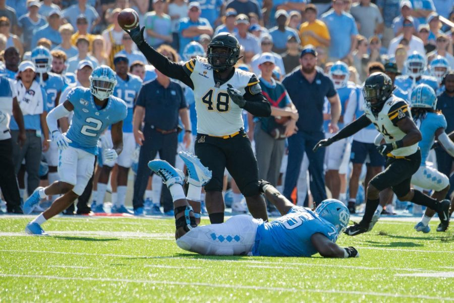 Junior+defensive+lineman+Demetrius+%22Meech%22+Taylor+intercepts+a+pass+from+UNC+quarterback+Sam+Howell+in+App+State%27s+34-31+win+over+the+Tar+Heels+on+Sept.+21.