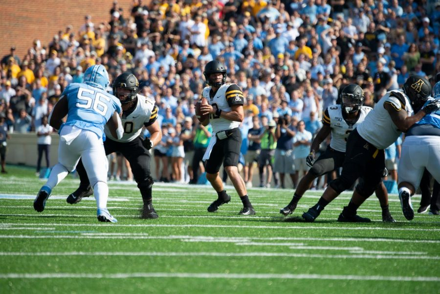 Junior quarterback Zac Thomas waits in the pocket in App State's 34-31 win over the Tar Heels in Chapel Hill.