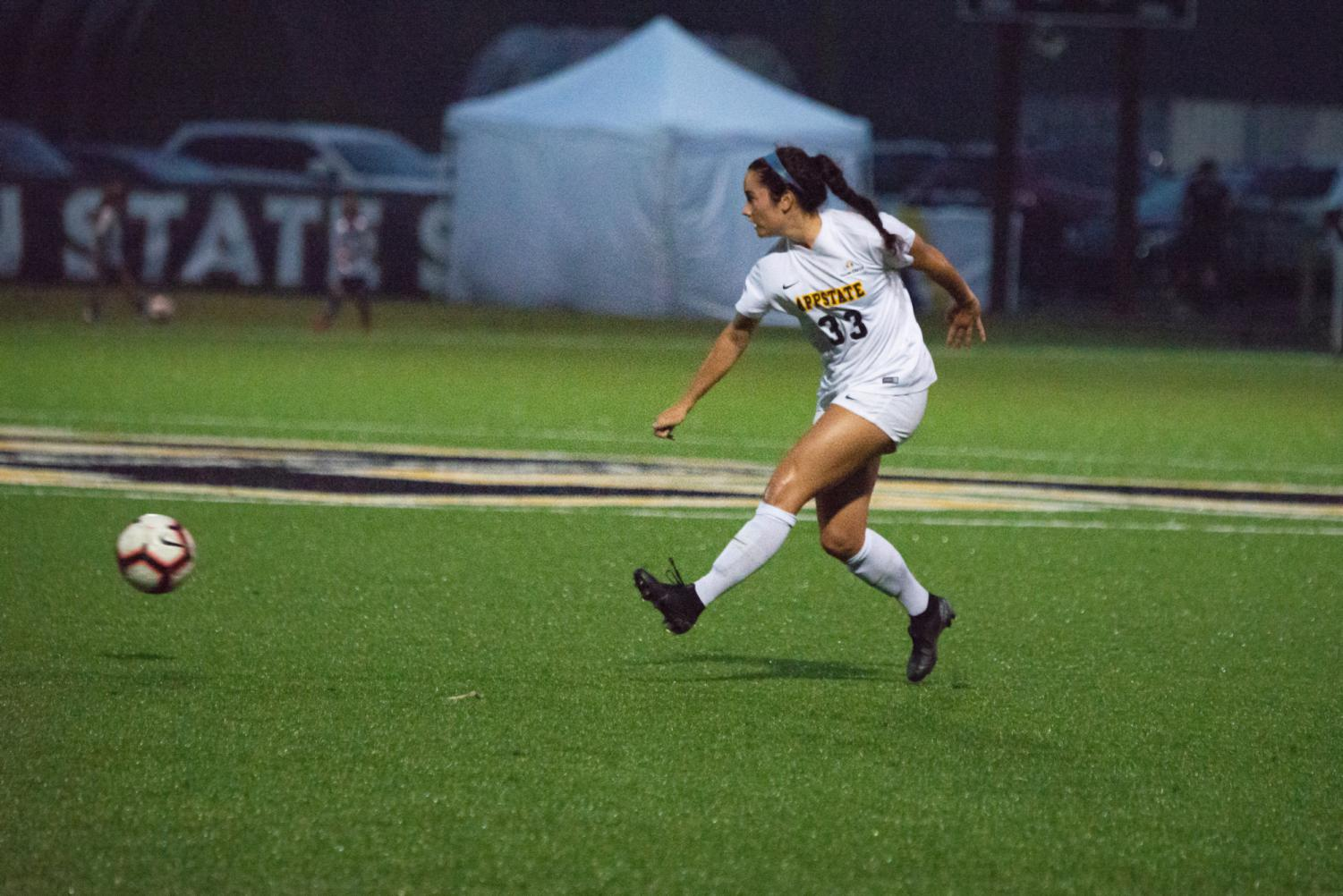 Freshman forward Liney Brantley passes the ball across midfield during App State's  2-1 win over FIU on Sept. 13.