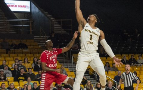 Senior guard Justin Forrest attacks the rim in App State's 104-77 win over Louisiana on Jan. 31.