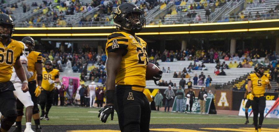 Junior running back Marcus Williams, Jr. celebrates his fourth quarter rushing touchdown during No. 24 App State's 52-7 win over ULM.