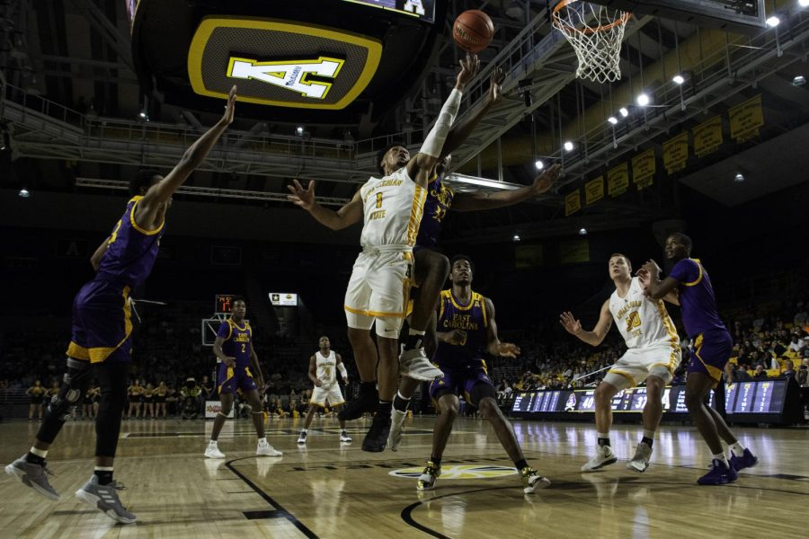 Junior guard Justin Forrest reaches up for a layup during App State's 68-62 win over East Carolina.