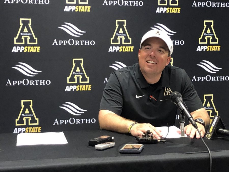 App State head coach Eliah Drinkwitz speaks postgame after the Mountaineers beat UNC 34-31 in Chapel Hill on Sept. 21.