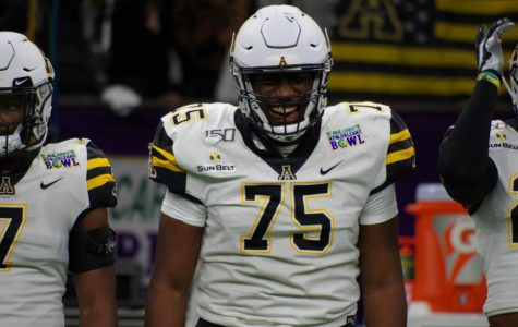 Senior offensive lineman Victor Johnson at the New Orleans Bowl. Johnson was selected to play in the NFLPA Collegiate Bowl and was joined by teammate Jordan Fehr.