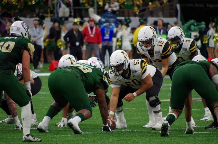Four+out+of+five+starters+on+App+State%27s+offensive+line+were+named+to+2020+preseason+all-Sun+Belt+teams.+The+line+is+anchored+in+the+middle+by+four-year+starting+center+Noah+Hannon.+
