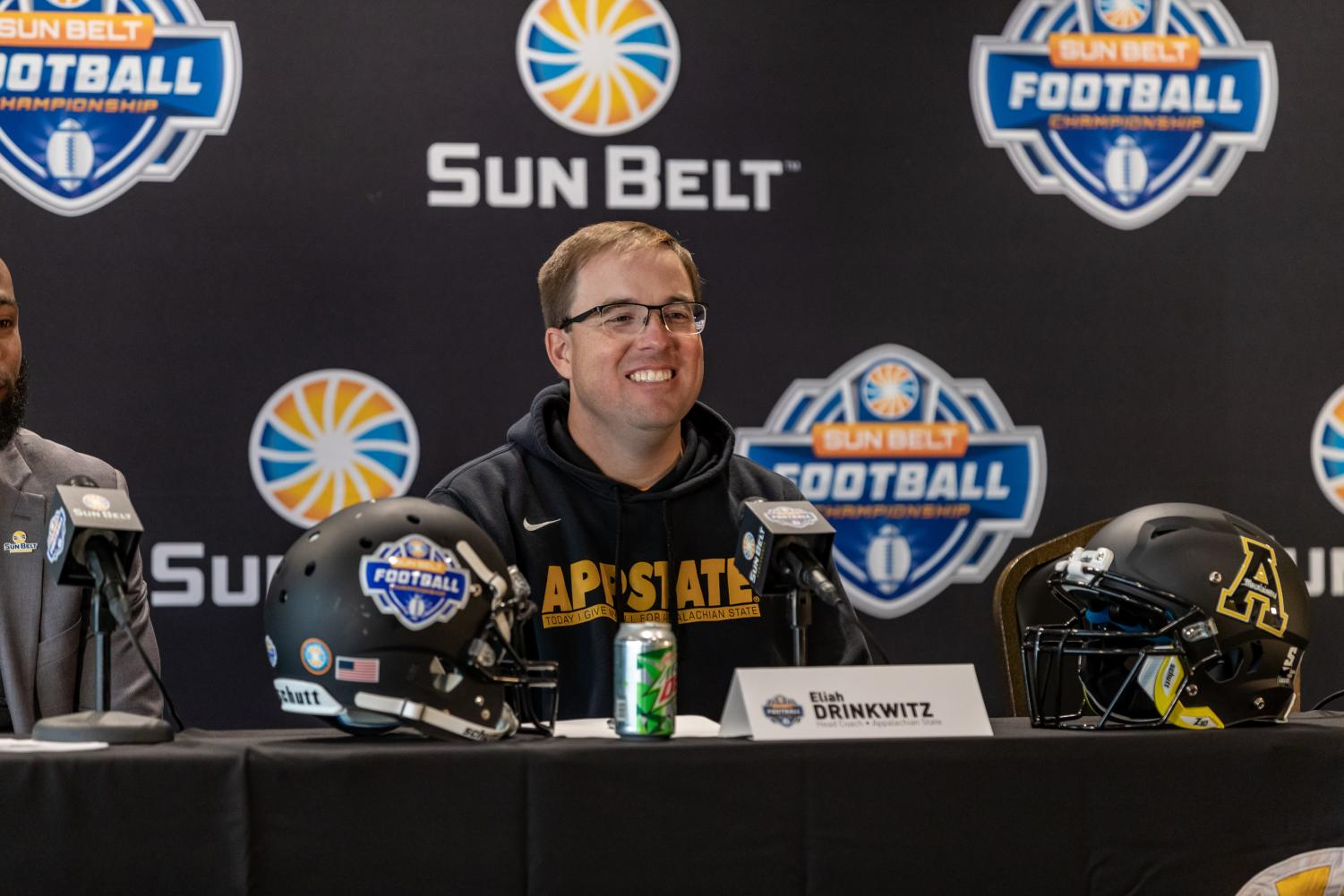 App State head coach Eliah Drinkwitz during Friday afternoon's championship press conference.